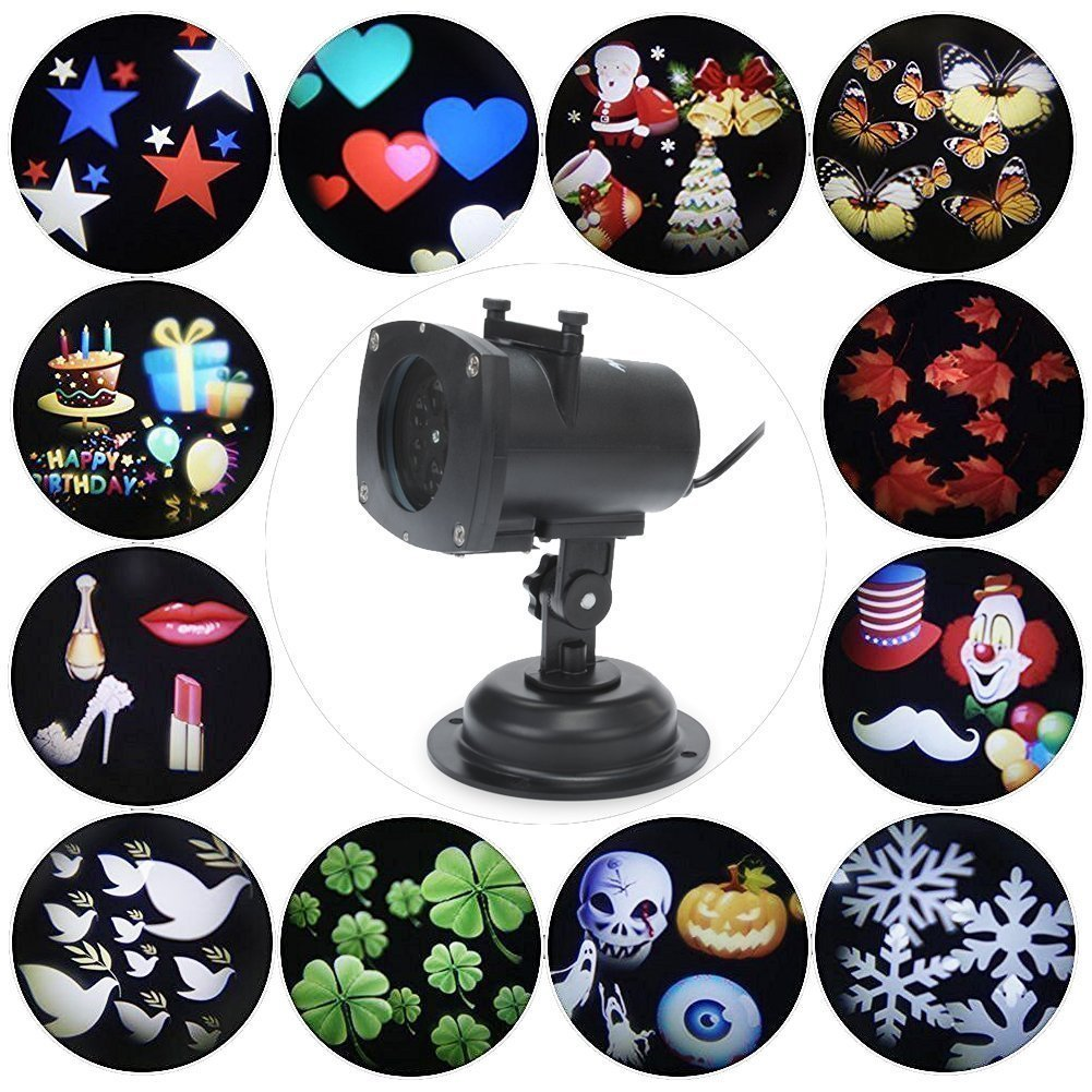 Projector Lights 12 Pattern Gobos Garden Lamp Waterproof